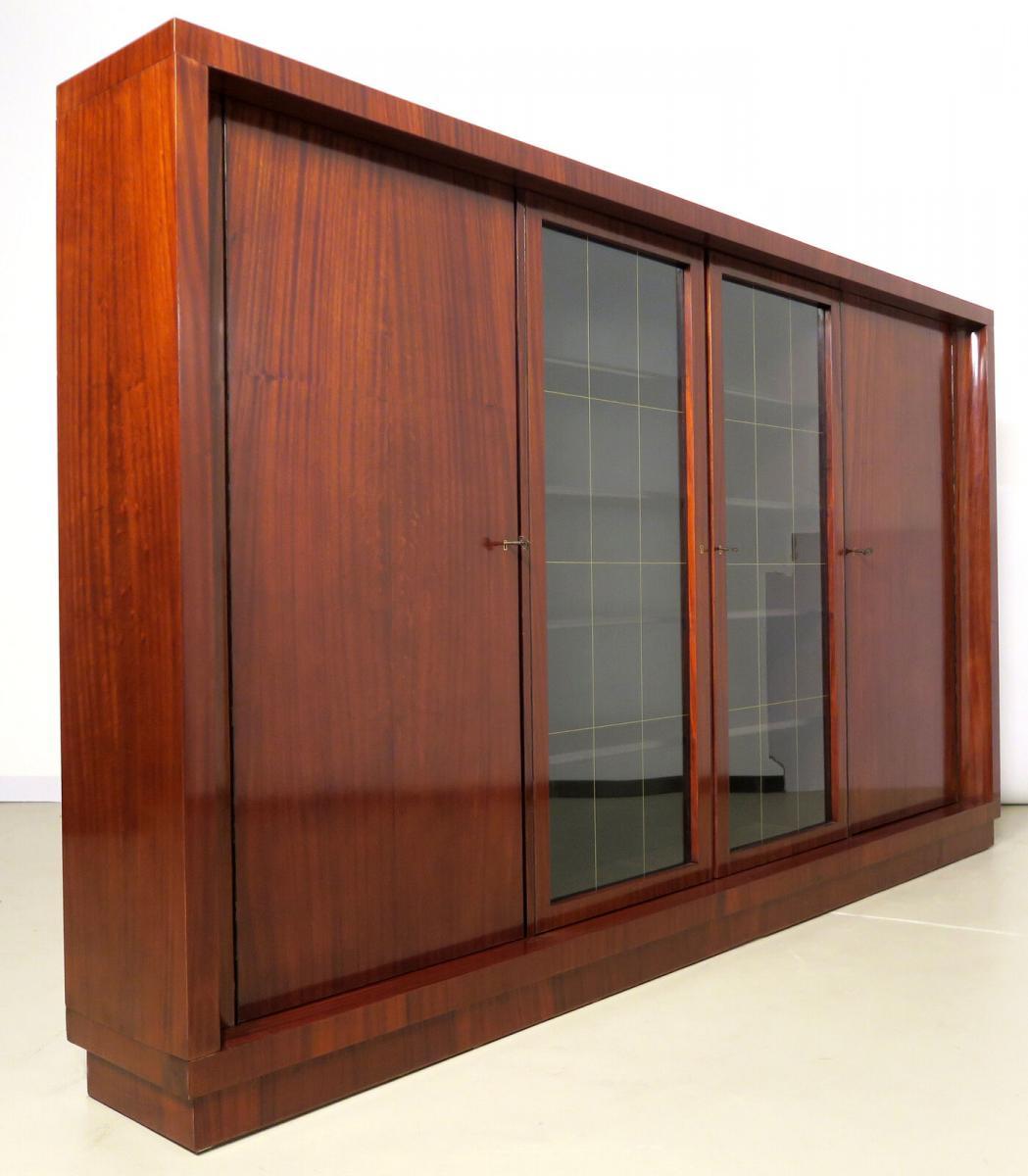 Viertüriger Bauhaus Bücherschrank aus Makassar gefertigt Antik Kolosseum 3