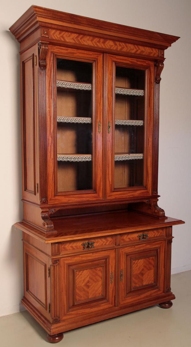 Eleganter Gründerzeit Aufsatz - Bücherschrank gefertigt um 1890 Antik Kolosseum 1