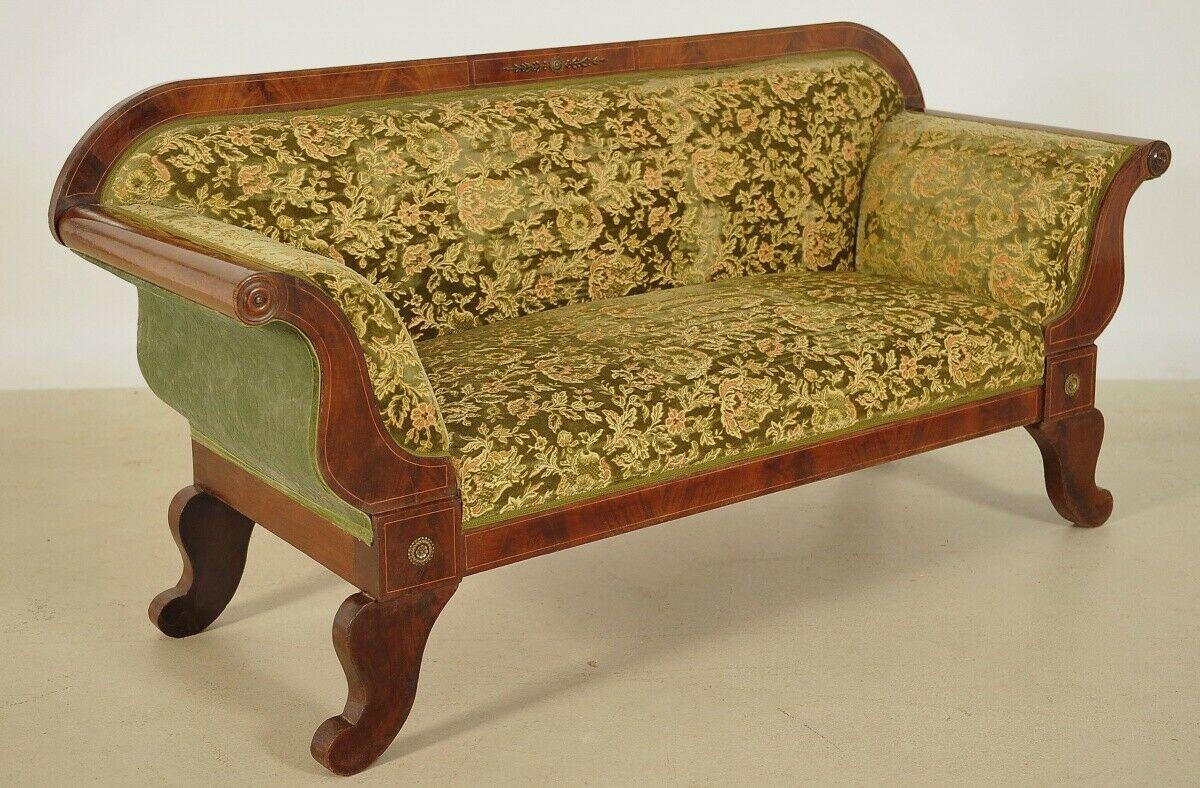 Elegantes Biedermeier Sofa mit Intarsien und Bronzemedallions Antik Kolosseum 0