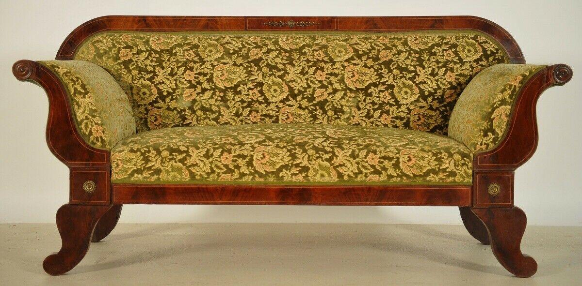 Elegantes Biedermeier Sofa mit Intarsien und Bronzemedallions Antik Kolosseum 2