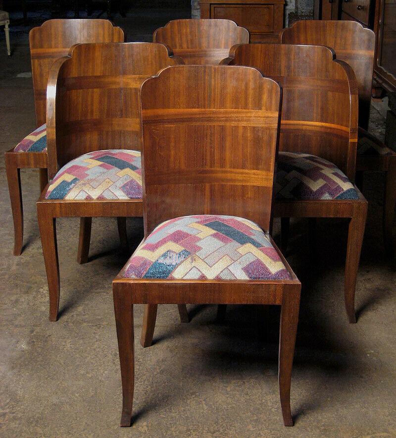Sechs geschwungene, französische Art Deco Stühle aus Nussbaum Antik Kolosseum