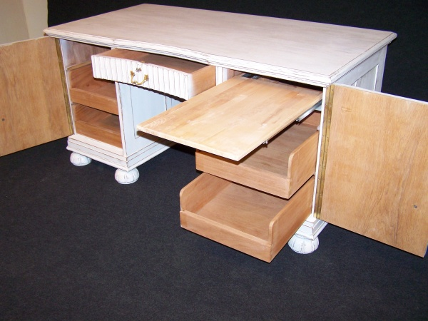 Art Deco Schreibtisch um 1920 aus Eiche Shabby Chic 1