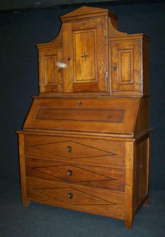 biedermeier sekret r um 1820 aus massiv eiche. Black Bedroom Furniture Sets. Home Design Ideas