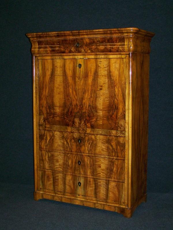 biedermeier sekret r um 1820 aus massiv eiche hellgrau gefasst und gealtert nr 192366261030. Black Bedroom Furniture Sets. Home Design Ideas
