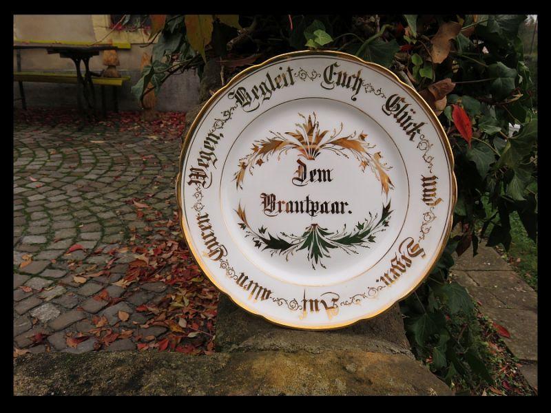 Goldene Hochzeit Glückwunsch Porzellan Teller / Dem Brautpaar / um 1900 TOP RAR 0