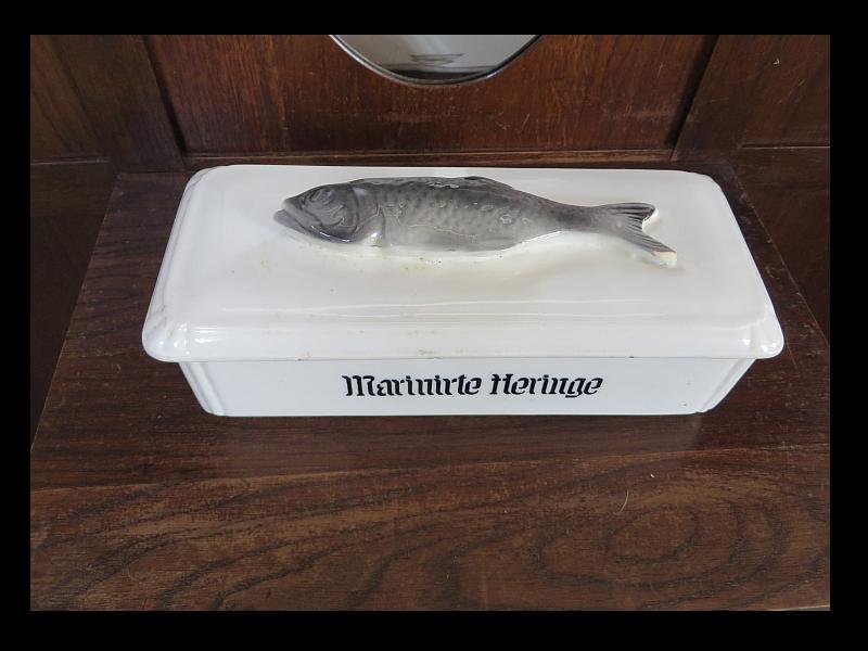 Marinirter Hering Fisch Deckel Dose Schale ca 1910 / original ZUSTAND