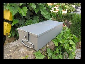 * Schmuck Geld Papiere DDR Safe Kassette Stahl Blech mit Verschluss Brandtlack * 0