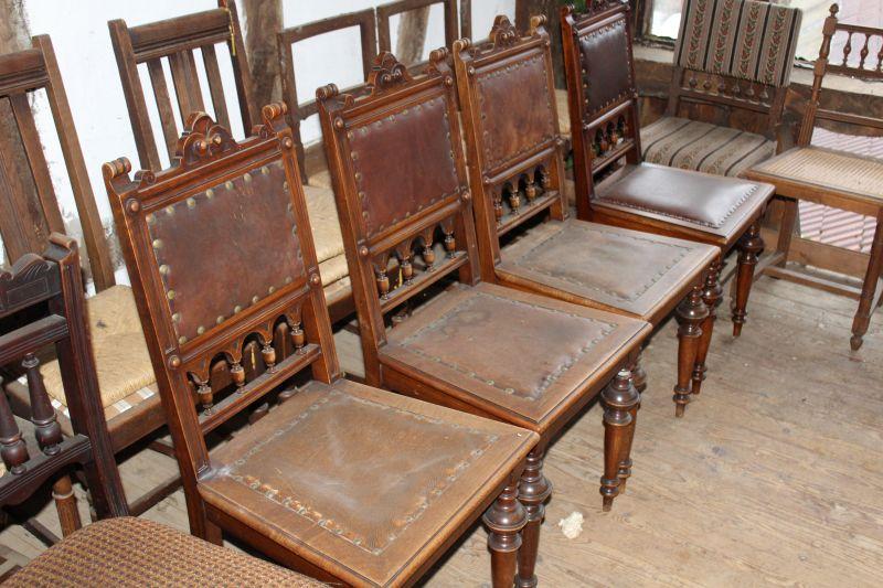 antike polsterst hle 4x oldthing lehnst hle. Black Bedroom Furniture Sets. Home Design Ideas