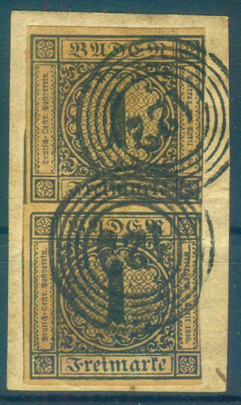 seltenes Paar der Nr. 1b Briefstück schöner Stempel 122 - Mi. 750 €