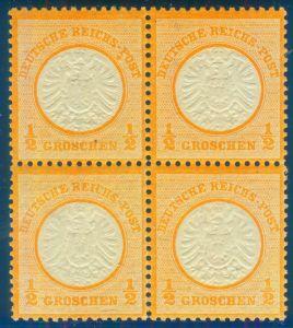 """1/2 Gr. großer Schild postfrischer Viererblock Marke links oben mit PF II """"Farb-"""