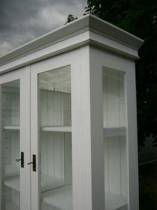 Buffet Vitrine 3 seitig verglast im Shabby Look Landhaus