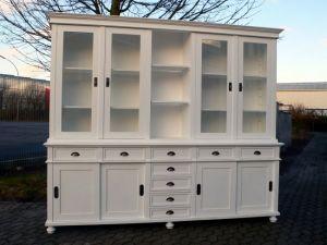 Ladenschrank Ladenwand Ladeneinrichtung Büchervitrine weiß 250cm