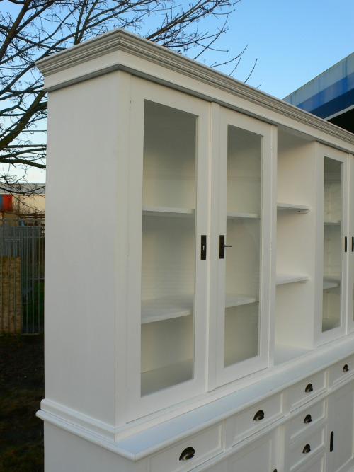 Ladenschrank Ladenwand Ladeneinrichtung Büchervitrine weiß 250cm 16
