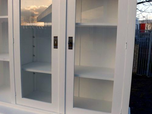Ladenschrank Ladenwand Ladeneinrichtung Büchervitrine weiß 250cm 2