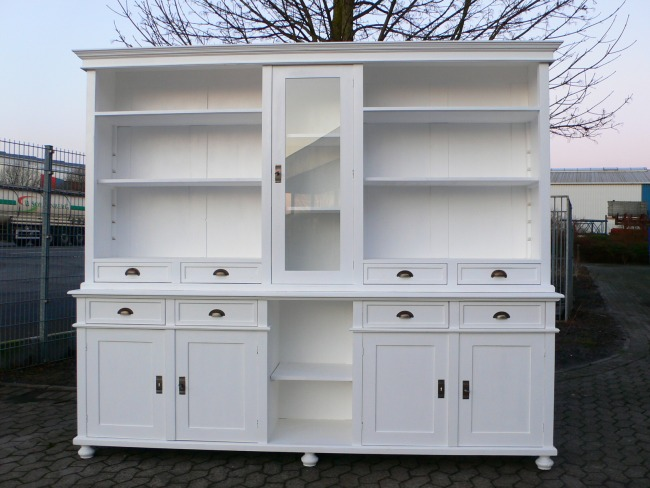 Bibliothek Ladenschrank Laden Regal im Landhaus Stil weiß 250 cm