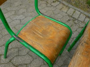 Schulbank mit Stuhl aus Pariser Schule Frankreich um 1950 Jhd. 2