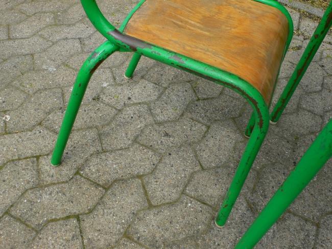 Schulbank mit Stuhl aus Pariser Schule Frankreich um 1950 Jhd. 3