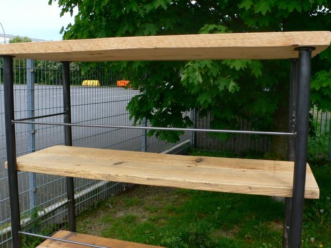 regal industrie design eisen holz b cherregal industrial k chenregal. Black Bedroom Furniture Sets. Home Design Ideas
