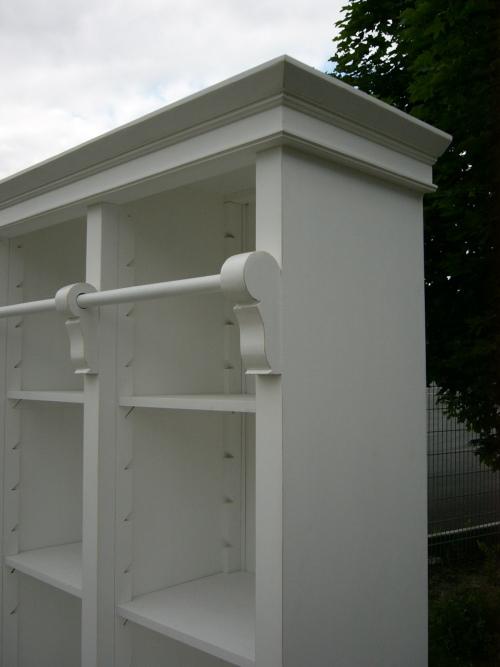 Bibliothek Bücherschrank Bücherregal im Landhaus Look mit Leiter 1