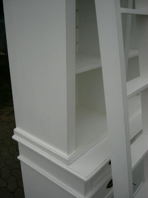 Bibliothek Bücherschrank Bücherregal im Landhaus Look mit Leiter 5