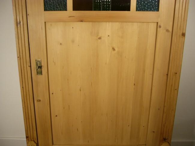 schrank 1 t rig antik weichholz bleiglas um 1900 jhd. Black Bedroom Furniture Sets. Home Design Ideas