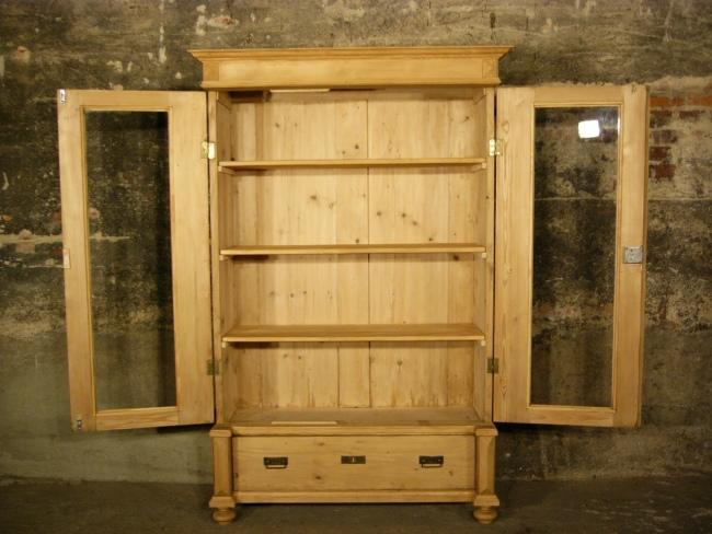 vitrine gr nderzeit antik weichholz 180 t ren glas schrank um 1900 jhd nr 401256883642. Black Bedroom Furniture Sets. Home Design Ideas