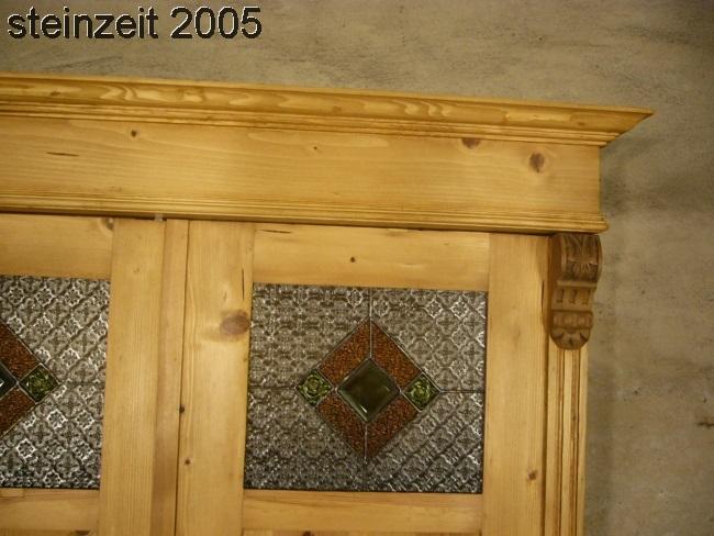Schrank Antik Bleiglas Grnderzeit 180 Tren Weichholz Um 1900 Jhd 2