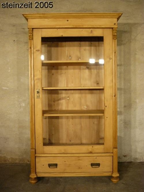 Vitrine antik 3 seitig verglast Weichholz Glas Schrank um 1900 Jhd. 1