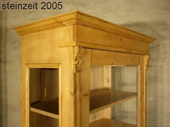 Vitrine antik 3 seitig verglast Weichholz Glas Schrank um 1900 Jhd. 10