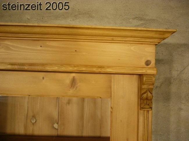Vitrine antik 3 seitig verglast Weichholz Glas Schrank um 1900 Jhd. 2
