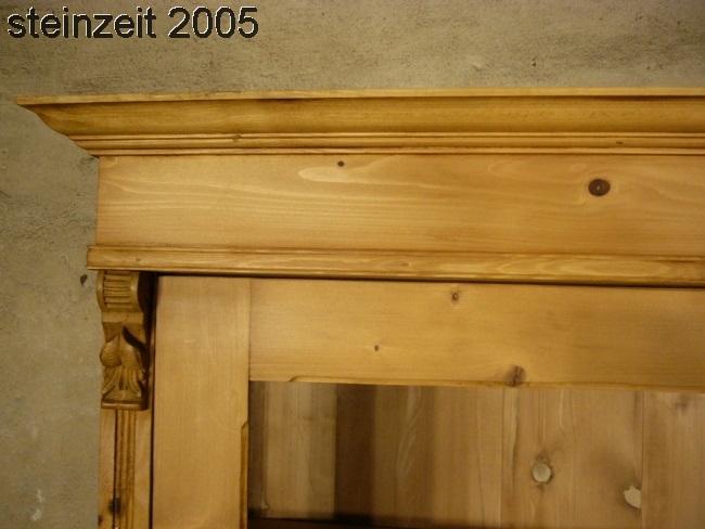 Vitrine antik 3 seitig verglast Weichholz Glas Schrank um 1900 Jhd. 3