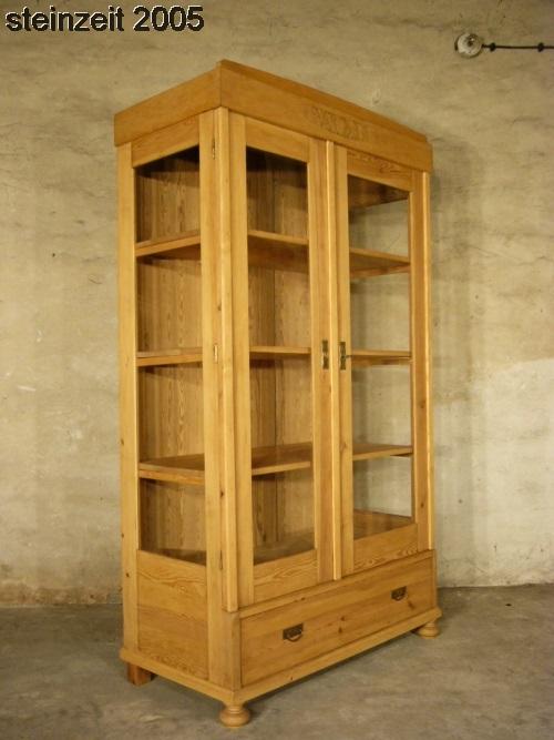 vitrine jugendstil weichholz antik glas schrank 3 seitig. Black Bedroom Furniture Sets. Home Design Ideas