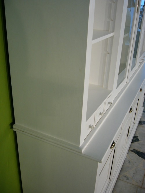 ladenwand verkaufsvitrine schrank buffet wei landhaus nr 192142365089 oldthing vitrinenschr nke. Black Bedroom Furniture Sets. Home Design Ideas