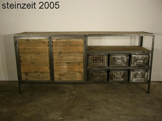 Anrichte Sideboard Eisen Holz Metall Industrie Design um 1940 Jhd.