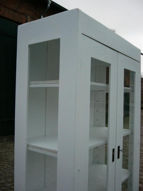 Vitrine weiß antik Jugendstil im Landhaus Stil 3 seitig verglast um 1910 Jhd. 10