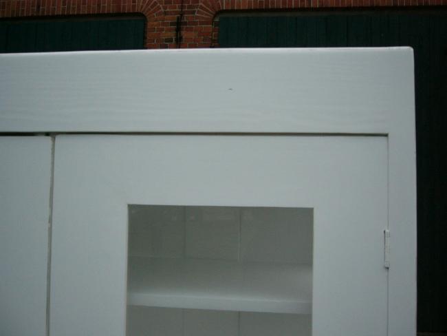 Vitrine weiß antik Jugendstil im Landhaus Stil 3 seitig verglast um 1910 Jhd. 3