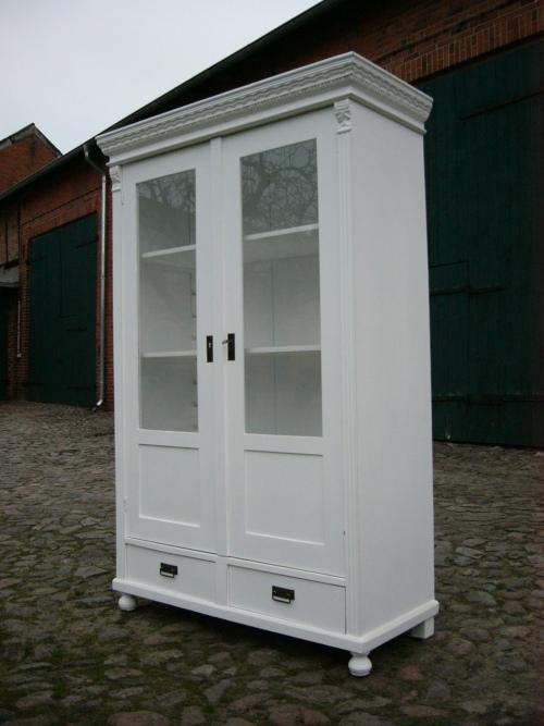Vitrine Jugendstil weiß antik im Landhaus Stil Schrank Regal um 1900 Jhd. 11