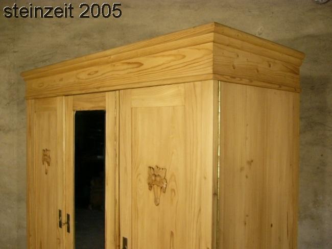 Schrank Jugendstil antik 3 türig Weichholz zerlegbar mit Spiegel um 1900 Jhd. 16