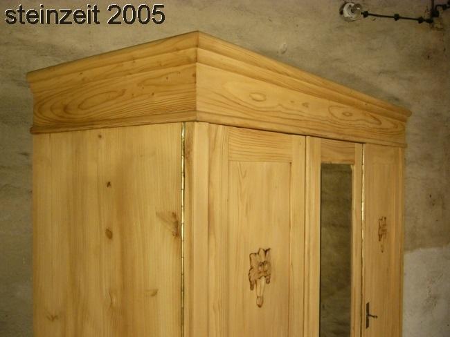 Schrank Jugendstil antik 3 türig Weichholz zerlegbar mit Spiegel um 1900 Jhd. 19