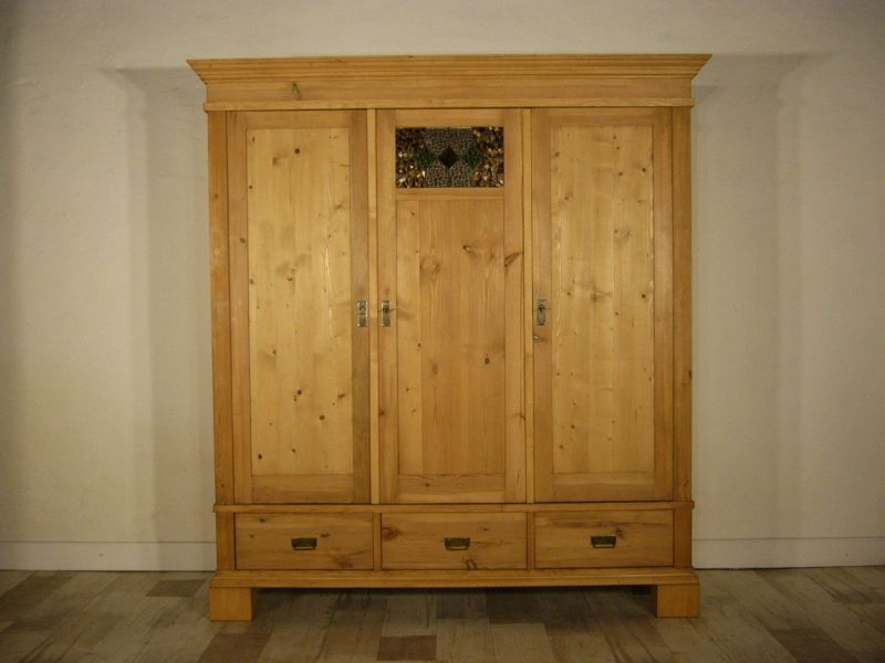 schrank riesig jugendstil zerlegbar weichholz antik bleiglas selten um 1900 jhd. Black Bedroom Furniture Sets. Home Design Ideas