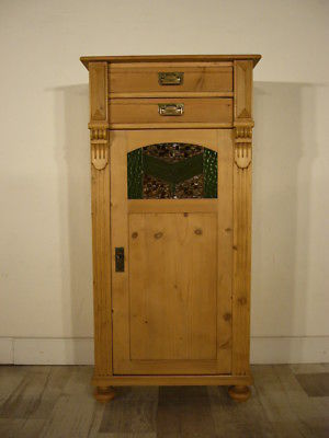 vertiko weichholz antik bleiglas gr nderzeit super schmal schrank um 1900 jhd nr 192482459036. Black Bedroom Furniture Sets. Home Design Ideas