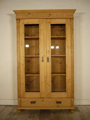 Vitrine Gründerzeit antik Weichholz 180° Türen Glas Schrank um 1900 Jhd.