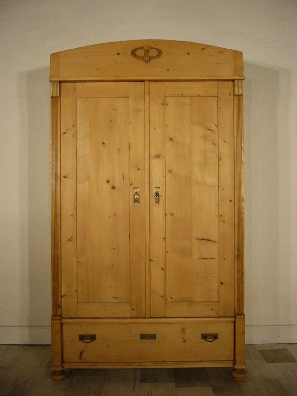 schrank jugendstil antik weichholz 2 t rig kleiderschrank. Black Bedroom Furniture Sets. Home Design Ideas