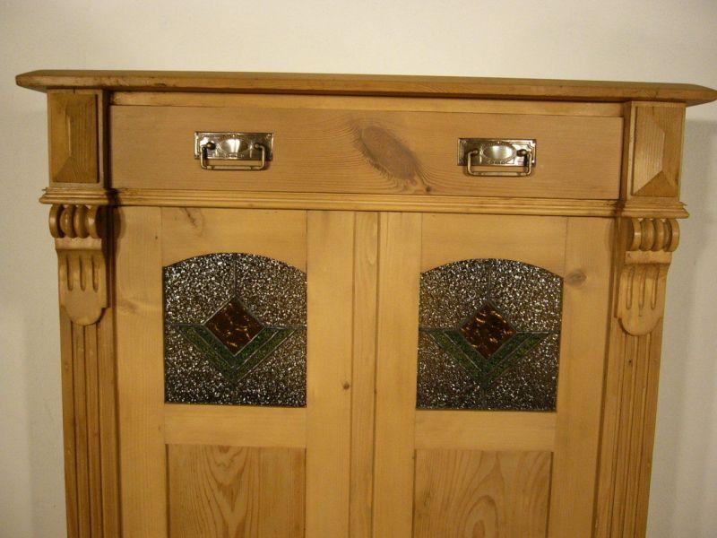 Vertiko Weichholz Bleiglas antik Schrank Regal alt um 1900 Jhd.
