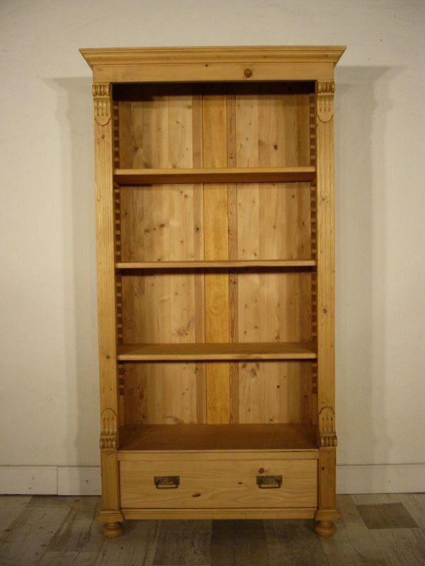 Regal antik Gründerzeit Weichholz restauriert Bücher Schrank um 1900 Jhd.