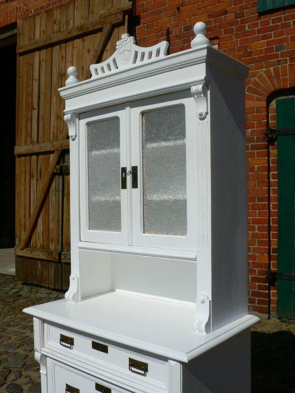 buffet k chenschrank gr nderzeit wei antik im landhaus stil um 1890 jhd nr 401548812530. Black Bedroom Furniture Sets. Home Design Ideas