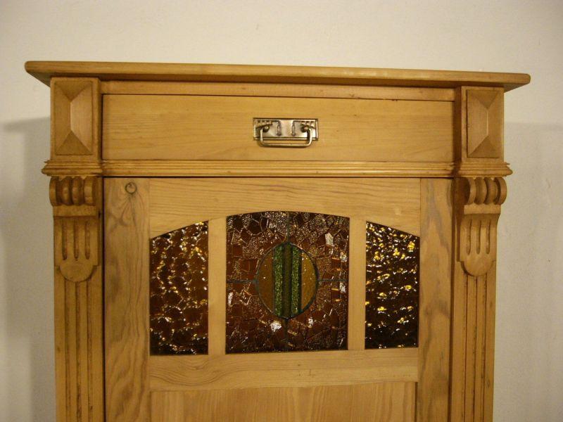 Vertiko Weichholz 1 türig Bleiglas antik Schrank um 1900 Jhd.