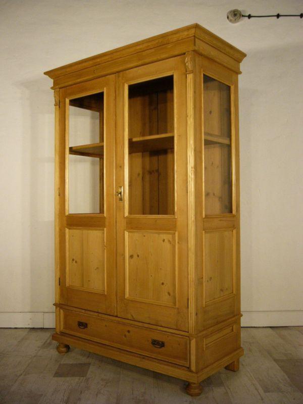 Vitrine Jugendstil Weichholz antik 3 seitig verglast Glas Schrank um 1900 Jhd.