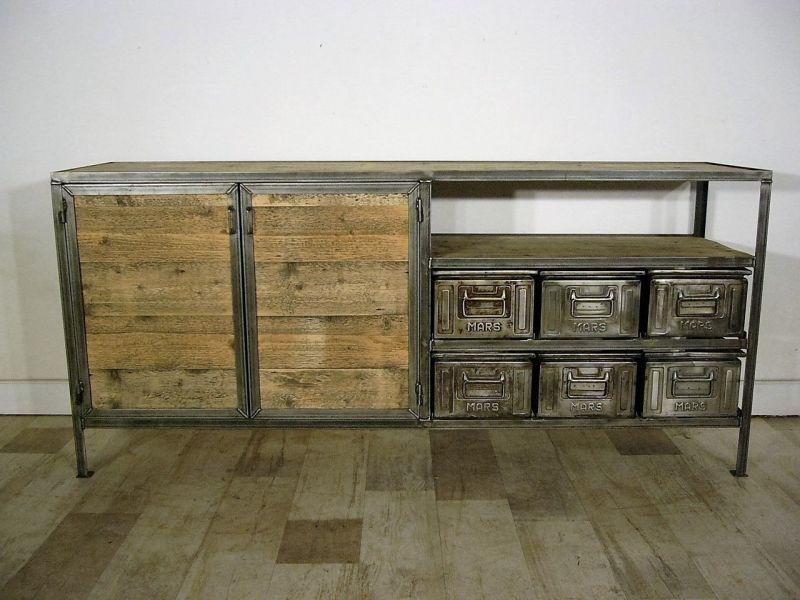 Anrichte Eisen Metall Industrie Design Sideboard antik um 1930 Jhd.