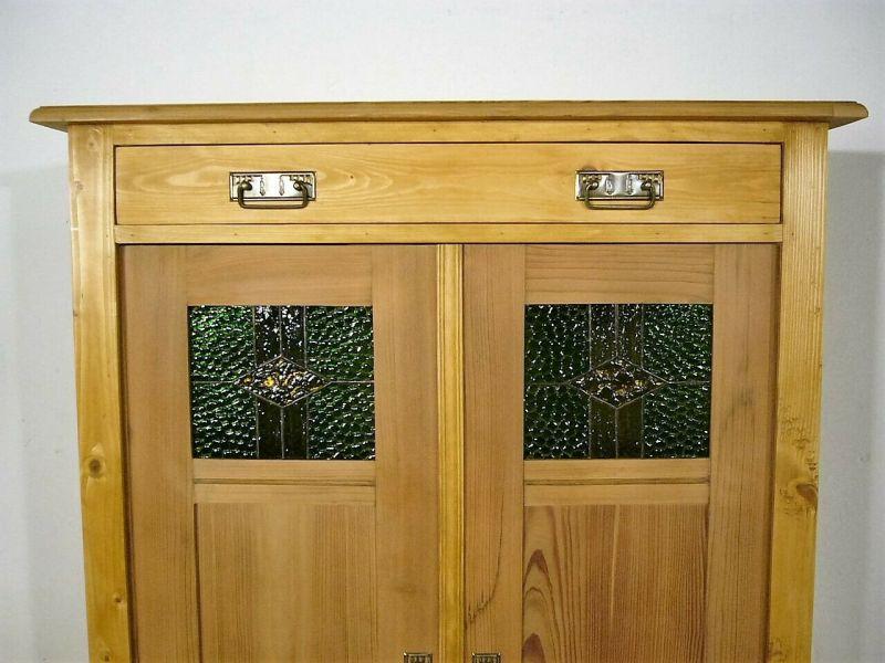 Vertiko Weichholz Jugendstil Bleiglas antik Schrank um 1900 Jhd.